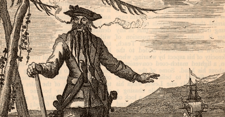 "British pirate Edward Teach, or ""Blackbeard""; Archaeologists find book scraps on Blackbeard's ship"