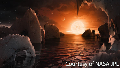 Artist's Rendition of a View from the Fifth TRAPPIST-1 Planet